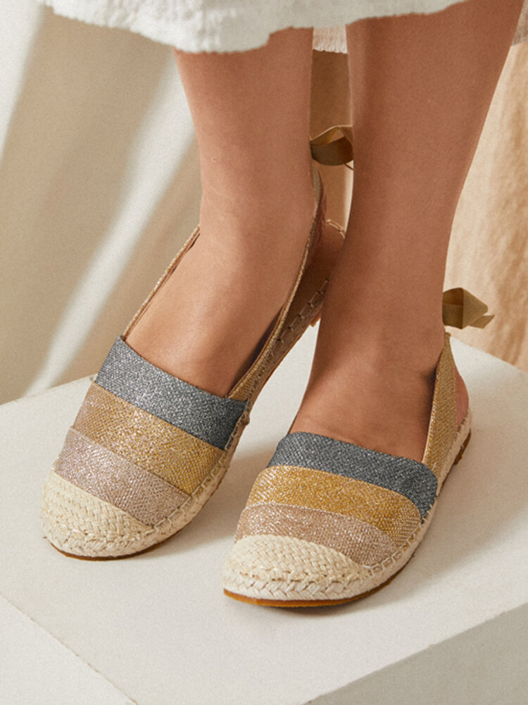 Women Casual Splicing Espadrilles Butterfly Knot Closed Toe Flats