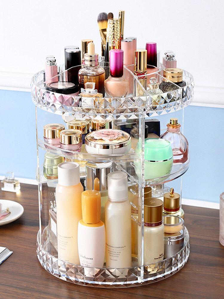 <US Instock>6 ADJUSTABLE LAYERS Makeup Organizer 360-Degree Rotating Comestic Storage Box Gift w/ Cosmetics Lipsticks Perfumes Display Tray