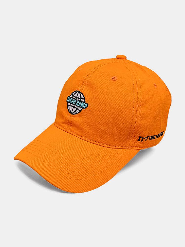 पुरुष कढ़ाई पत्र पैटर्न सादा रंग बेसबॉल टोपी आउटडोर सनशेड समायोज्य टोपी