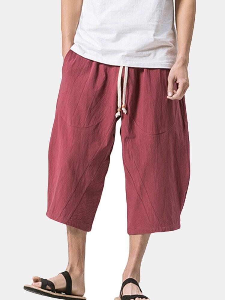Uomo Casual Pantaloncini Sciolti al Polpaccio Estivi in Cotone-Lino Traspirabile in Colore a Tinta Unita