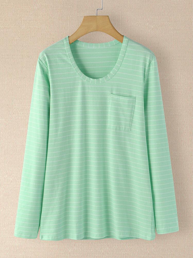 Stripe Print Pocket O-neck Long Sleeve Casual T-shirt