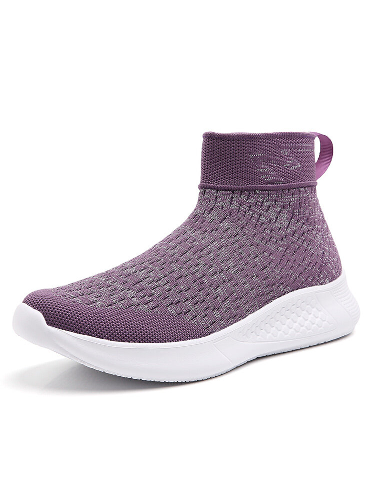 Women Casual Solid Breathable Knitted Slip On Walking Sneakers