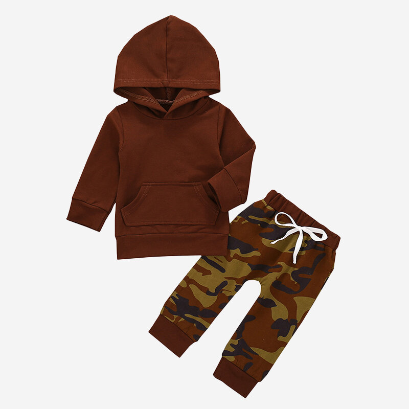 Baby Camouflage Print Long Sleeves Hooded Casual Set For 6-24M