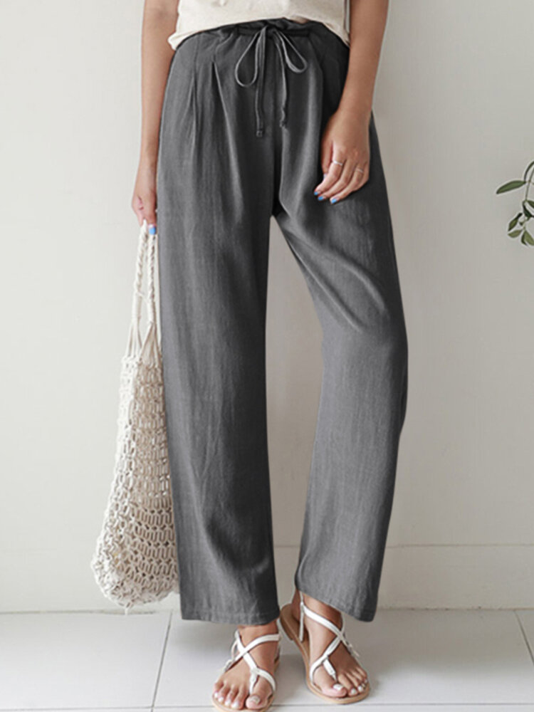 Solid Color Straight-legged Elastic Waist Cotton Pants For Women