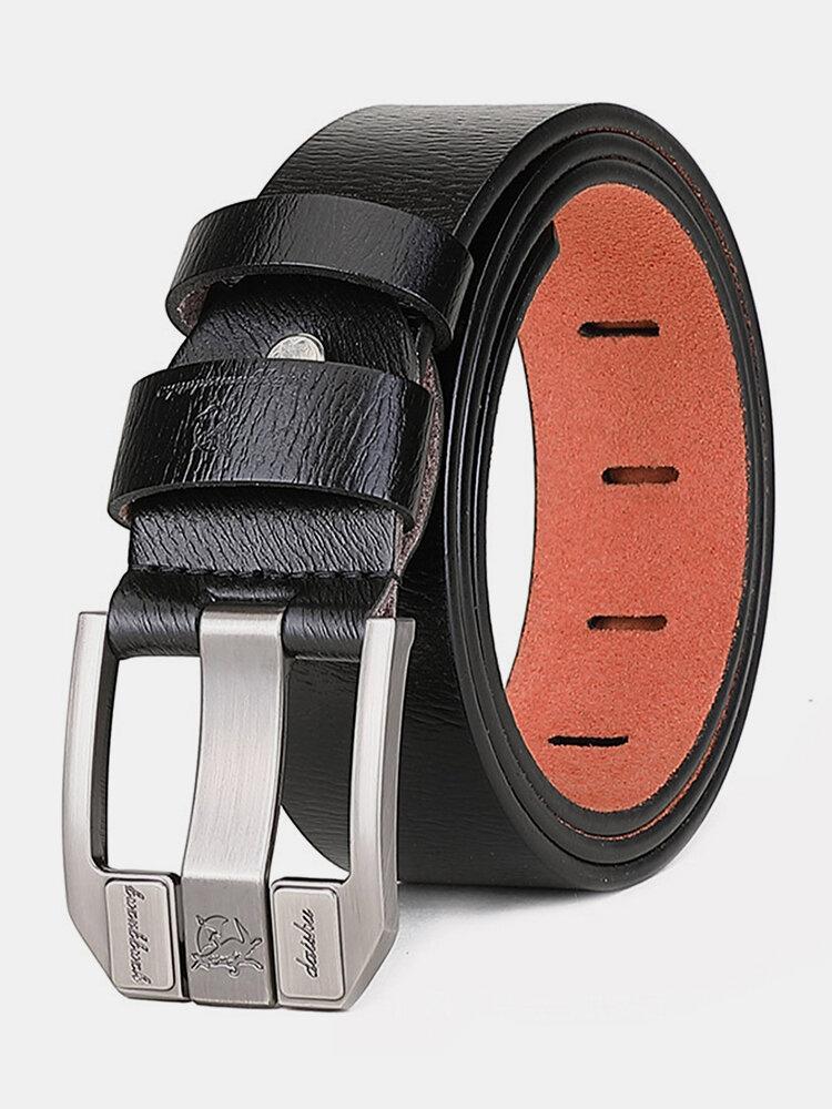 Men Cowhide Square Pin Buckle Belt Solid Color Business All-match Belt
