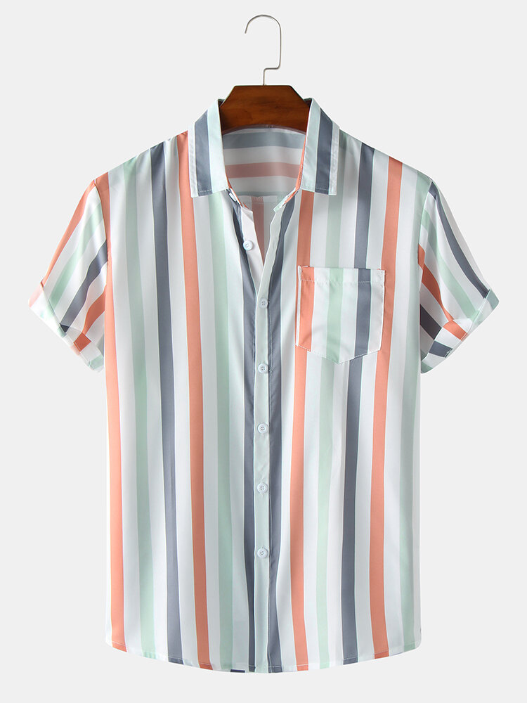 Mens Colorful Striped Button Up Short Sleeve Shirt With Pocket