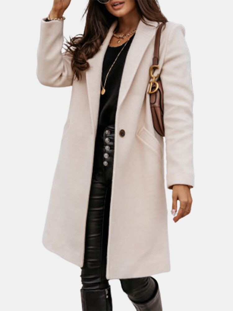 Solid Color Long Sleeve Lapel Casual Coat For Women