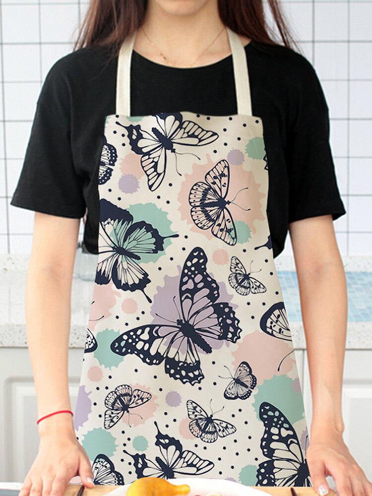 تنظيف بنمط الفراشة Colorful مآزر الطبخ المنزلي مريلة المطبخ للطبخ ارتداء مرايل الكبار من القطن والكتان