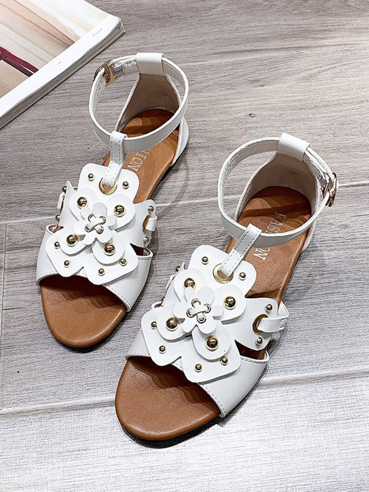 Women Casual Rivet Flowers Special Decoration Gladiator Sandals