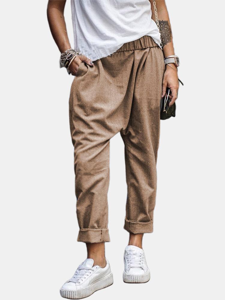 Casual Solid Color Pockets Harem Pants