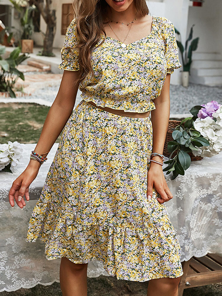 Floral Print Hollow Short Sleeve Square Collar Holiday Dress