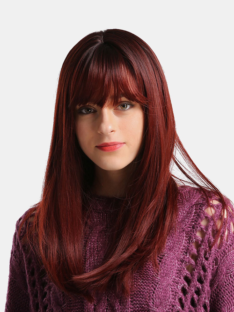 20 Inch Synthetic Hair Black Gradient Wine Red Natural Long Hair Sexy Charming Wig