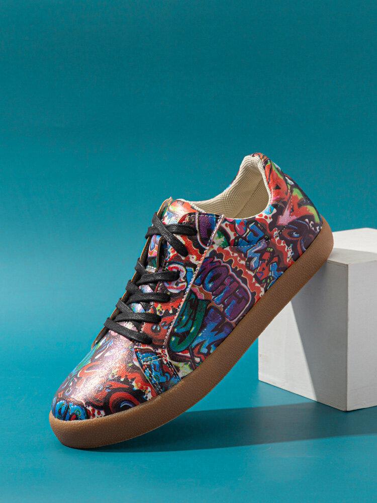 SOCOFY Женское Крутая мода Street Letter Art Printed Удобные носимые повседневные кроссовки на шнуровке Обувь для бега и ходьбы Обувь для скейтбординга для пасхальных подарков