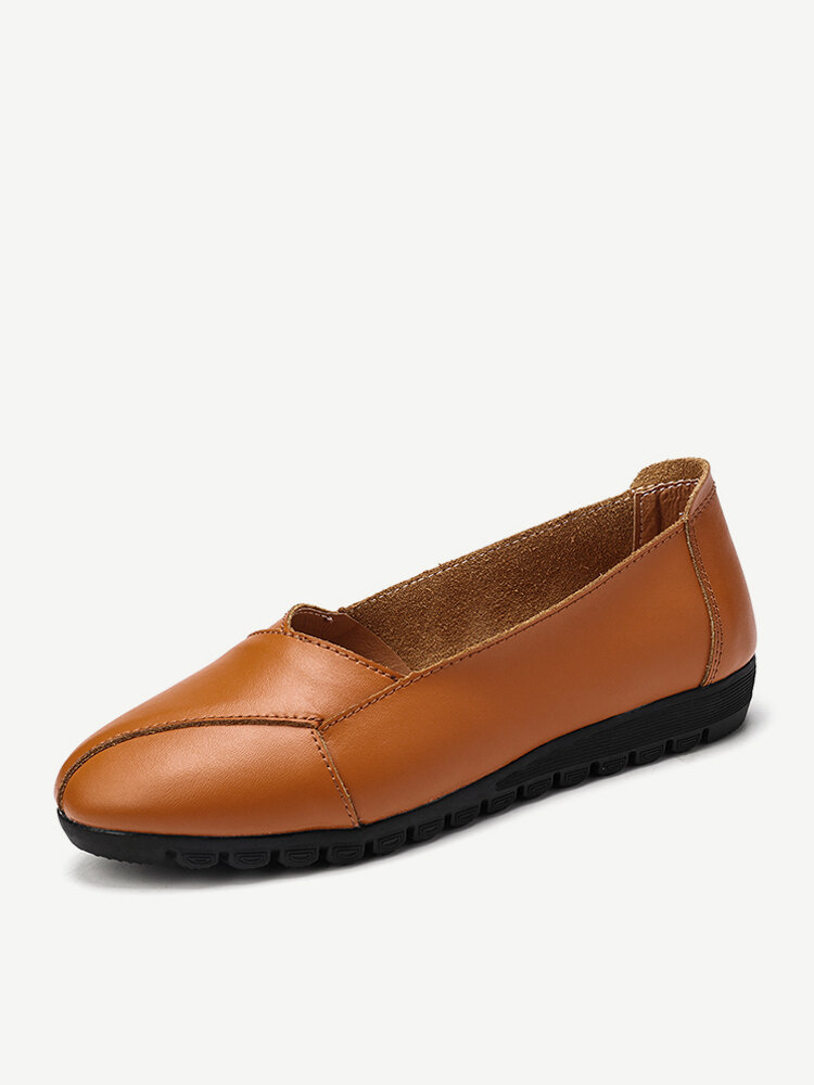 Women Leather Slip on Soft Casual Halved Belt Wearable Flats Shoes