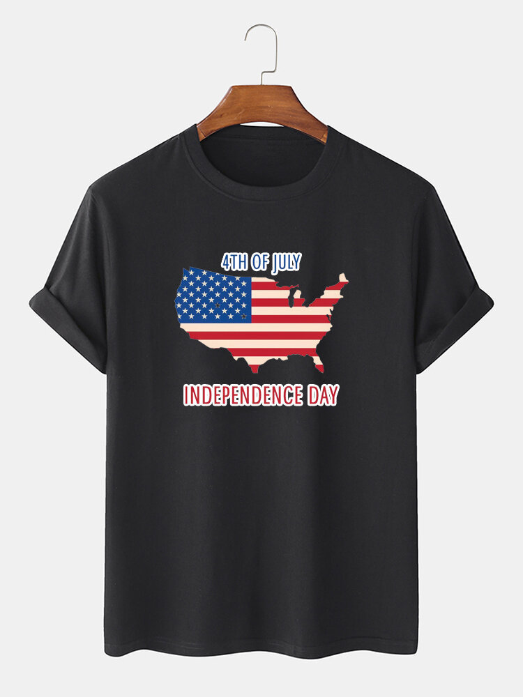 Men 100% Cotton American Flag Map Independence Day Printed Casual T-Shirt
