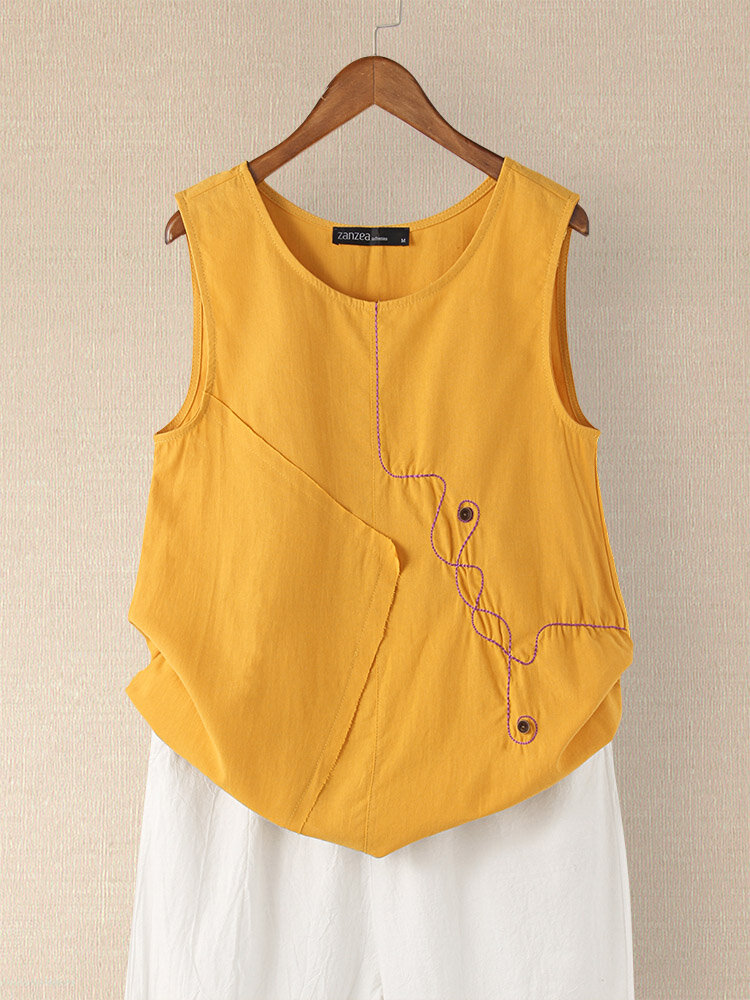 Button Embroidery O-neck Sleeveless Patchwork Vintage Tank Top
