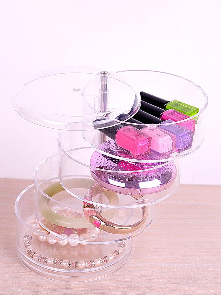 Four-layer Rotatable Dustproof Jewelry Box Cosmetic Storage Box
