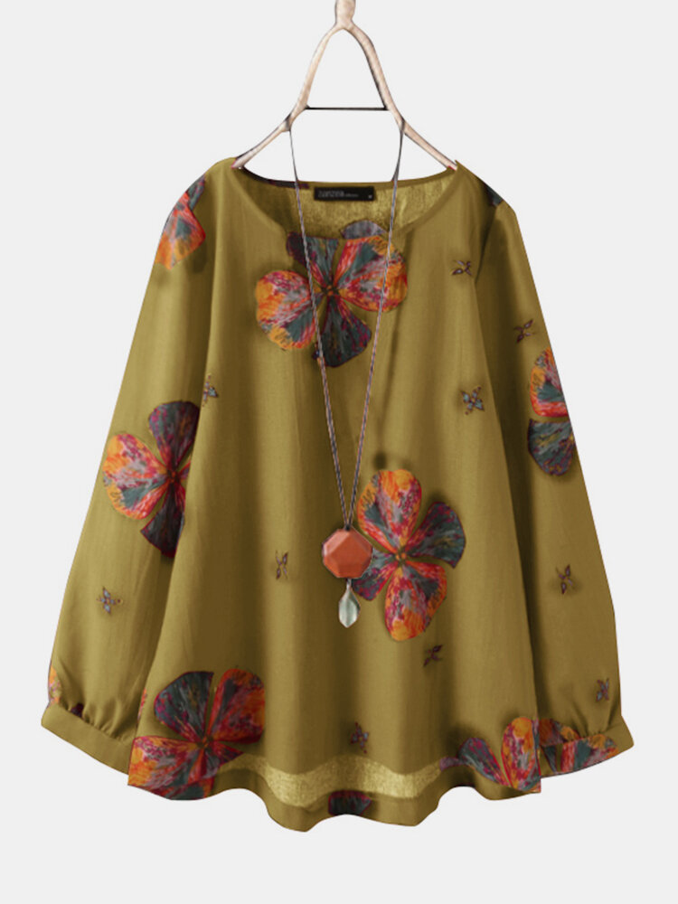 Calico Print O-neck Long Sleeve Casual Blouse For Women
