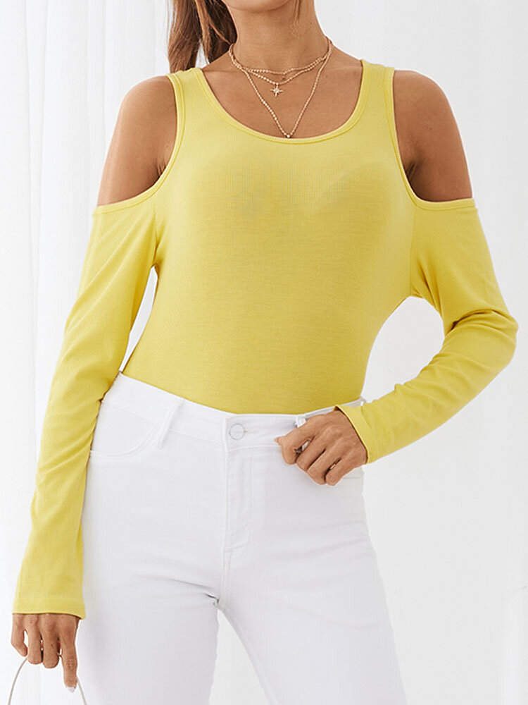 Solid Color Off Shoulder Long Sleeve Casual T-Shirt For Women