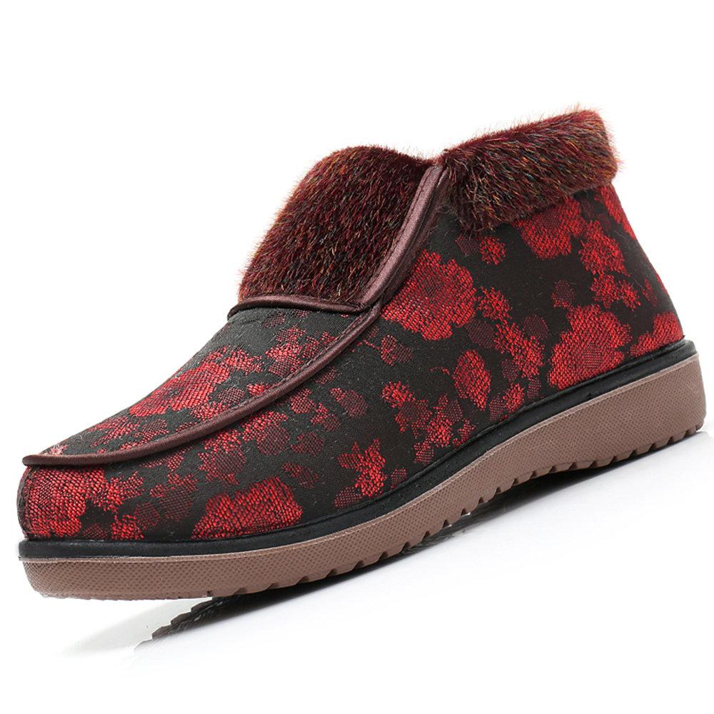 434e3bfde المرأة في فصل الشتاء الخفيف الزهور القطن بطانة الفراء الانزلاق على الأحذية-  NewChic