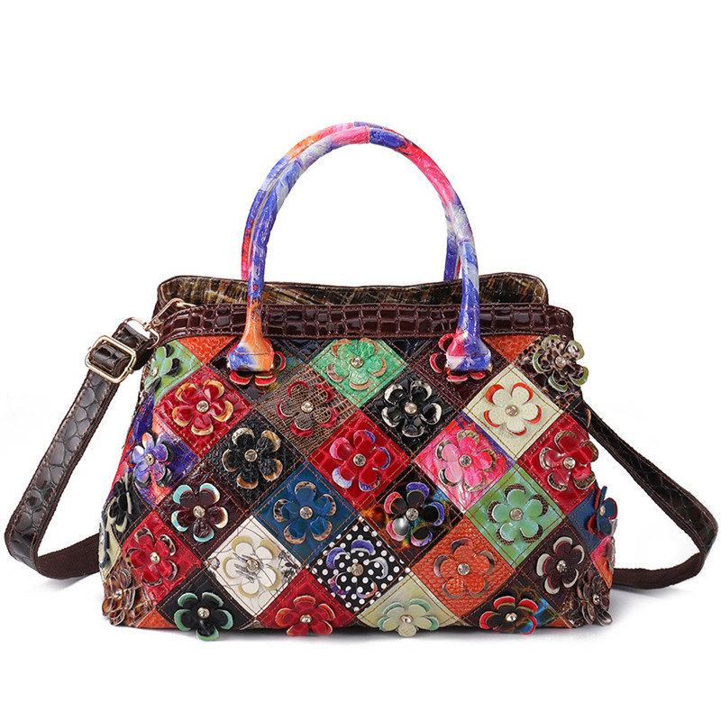 Women Bohemian Genuine Leather Floral Handbags Large Capacity Vintage Crossbody Bags