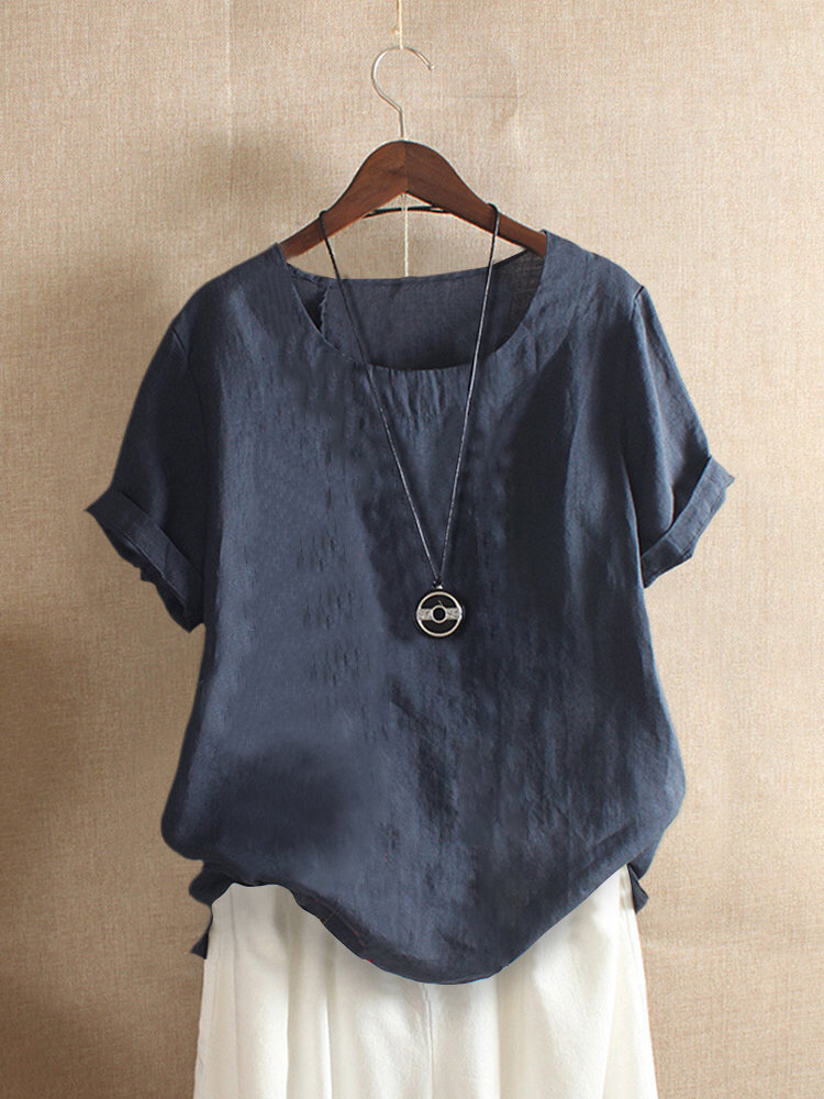 Solid Color Short Sleeve O-neck Casual T-shirt For Women