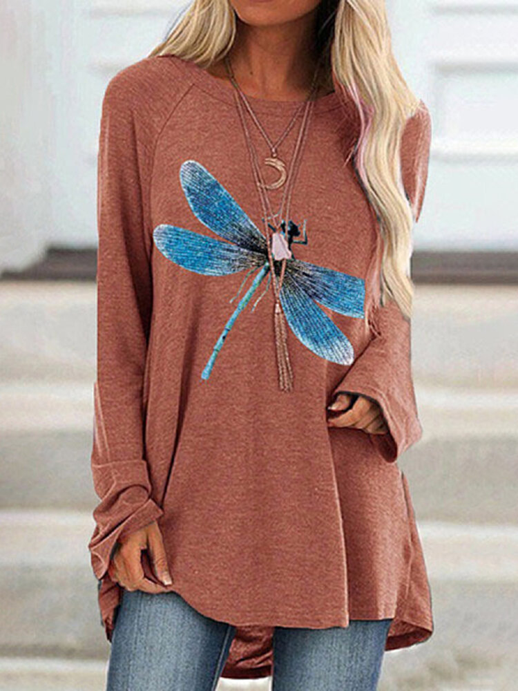 Dragonfly Print O-neck Long Sleeve Casual Blouse