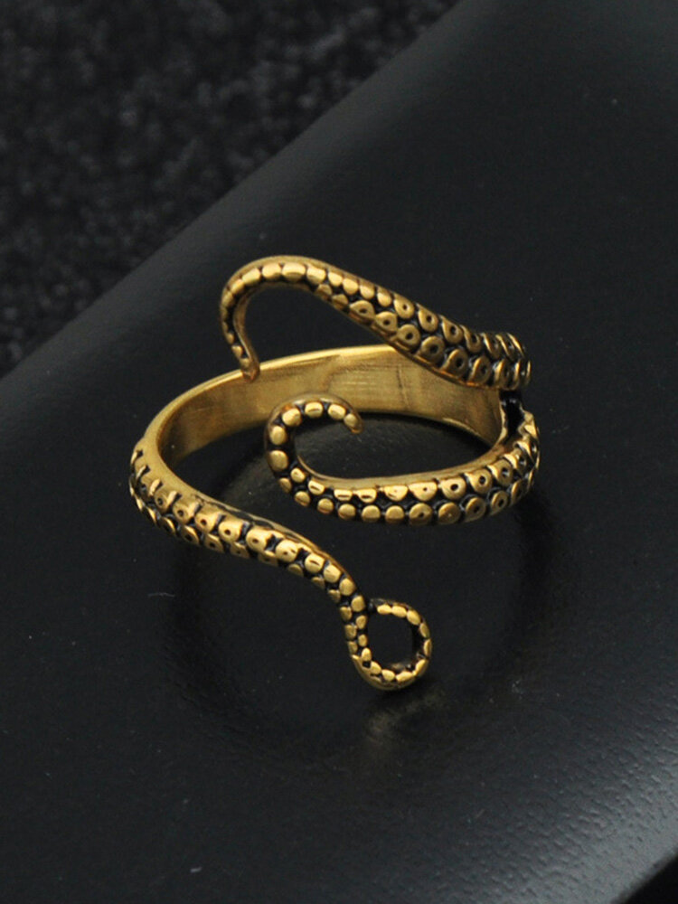 Vintage Stainless Steel Animal Men Ring Open Adjustable Octopus Tentacle Ring Jewelry Gift