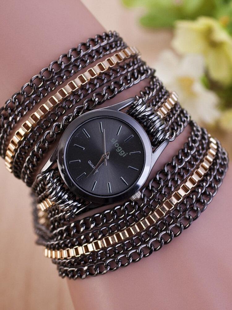 Trendy Mental Winding Chain Watch Gold Alloy Bracelet Quartz Watch For Women Waist Watch