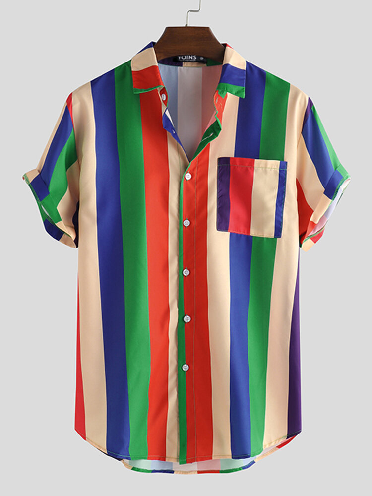 Mens Cool Rainbow Striped Patch Pocket Casual Short Sleeve Shirts