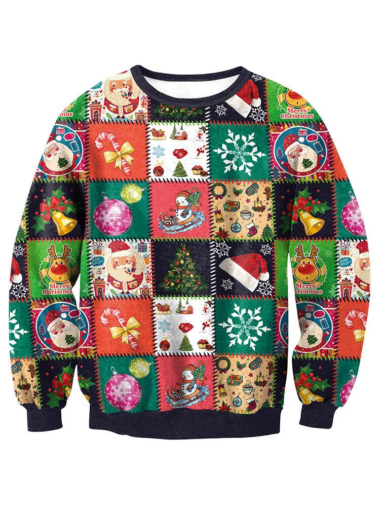 Men Ugly Christmas Lattice Printed Novelty Xmas Fancy Sweatshirts