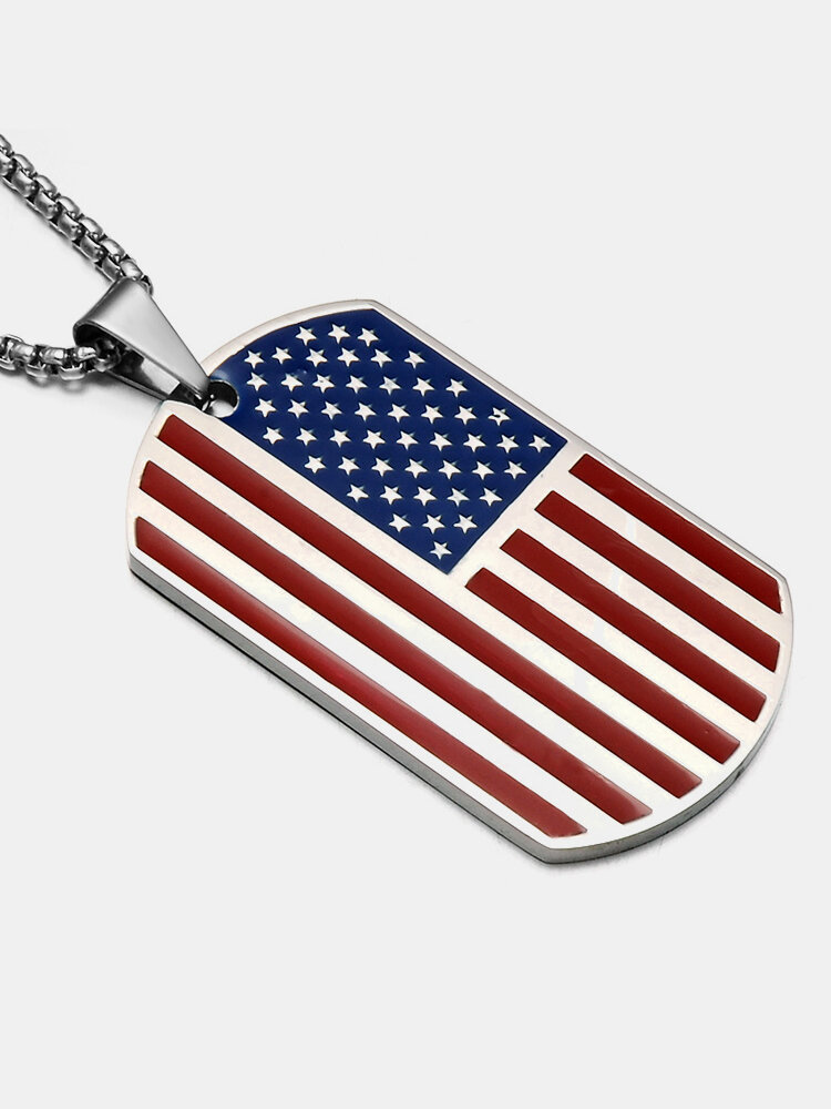 Classic Stainless Steel American Flag Pendant Men's Necklace USA Patriot Chain Necklace Jewelry