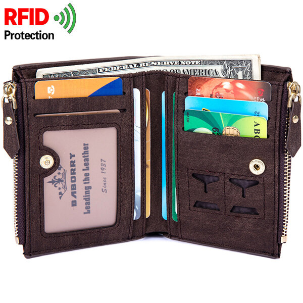 RFID Antimagnetic 8 Card Holders Coin Bag Business PU Leather Zipper Wallet For Men