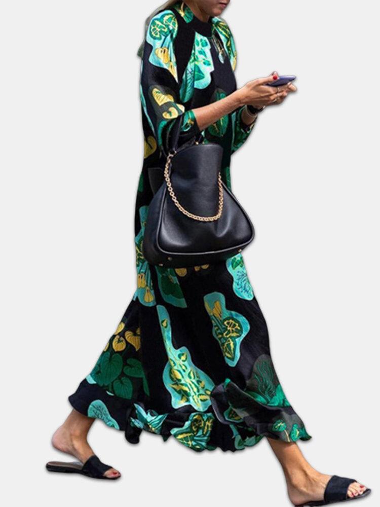 Tropical Print Mock Neck Long Sleeve Plus Size Print Dress