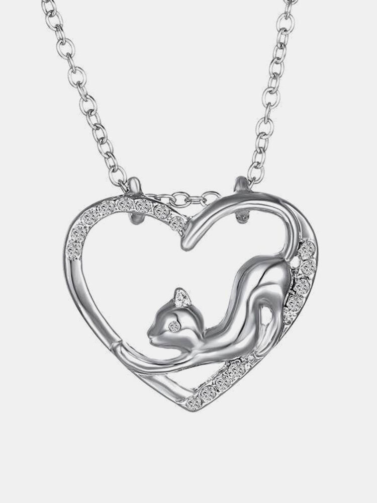 Crystal Small Cat Heart Pendant Necklace