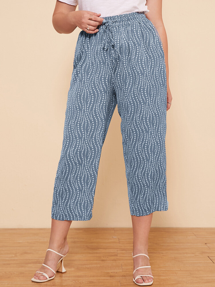 Flowers Line Print Drawstring Casual Plus Size Cropped Pants