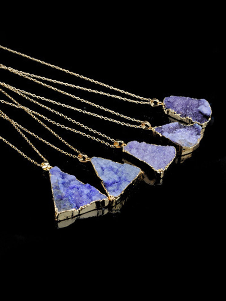 Vintage Natural Stone Unpolished Pendant Necklace Crystal Irregular Clavicle Chain Sweater Chain
