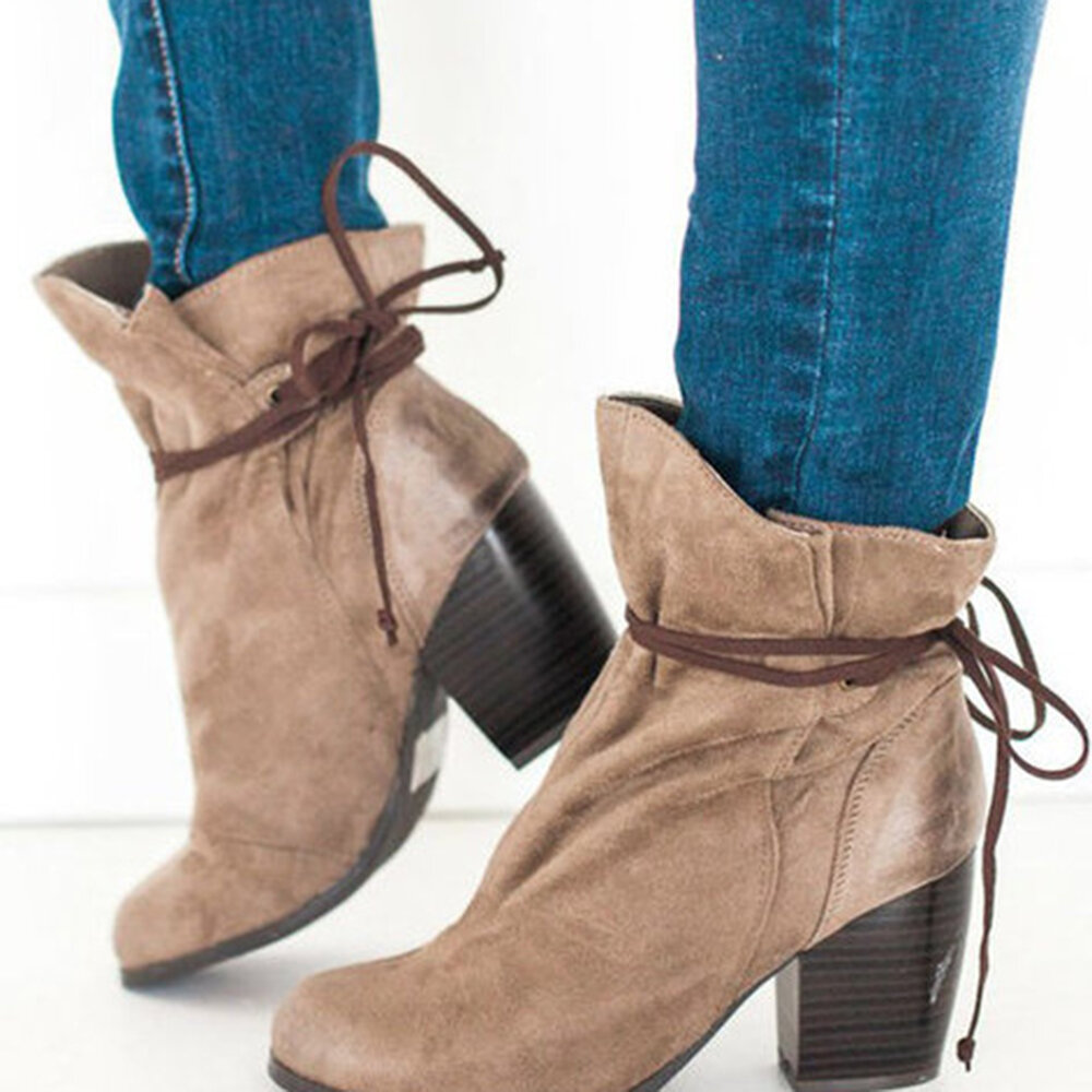 Back Lace Up Chunky Heel Ankle Boots
