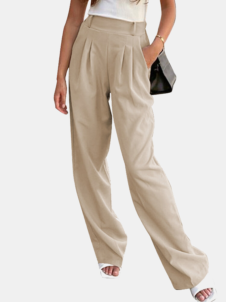 Solid Color Elastic Waist Loose Wide Leg Pants For Women