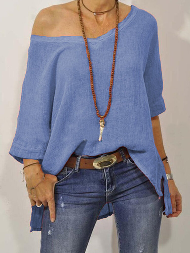 Image of 3/4 Sleeve Off-shoulder Solid Color Loose Blouse