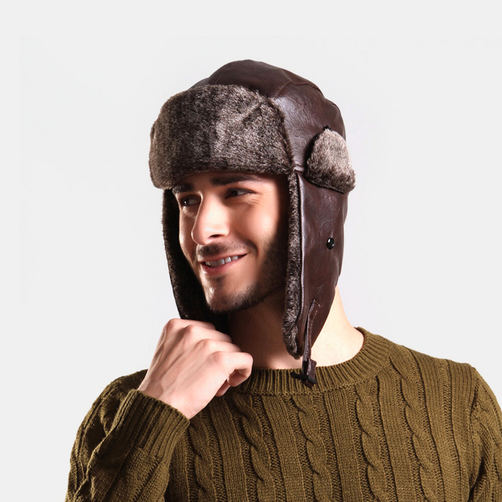 Collrown Men Faux Leather Velvet Winter Keep Warm Ear Protection Solid Color Leather Hunting Cap Trapper Hat