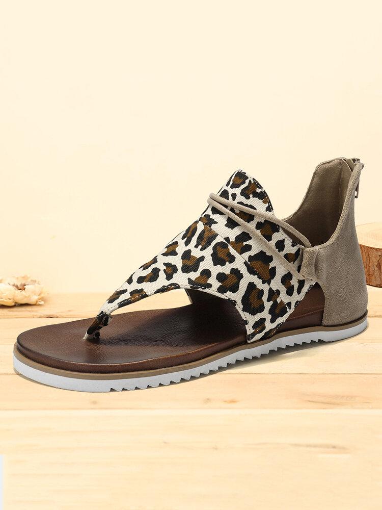 Plus Size Women Casual Leopard Pattern Clip Toe Zipper Gladiator Sandals