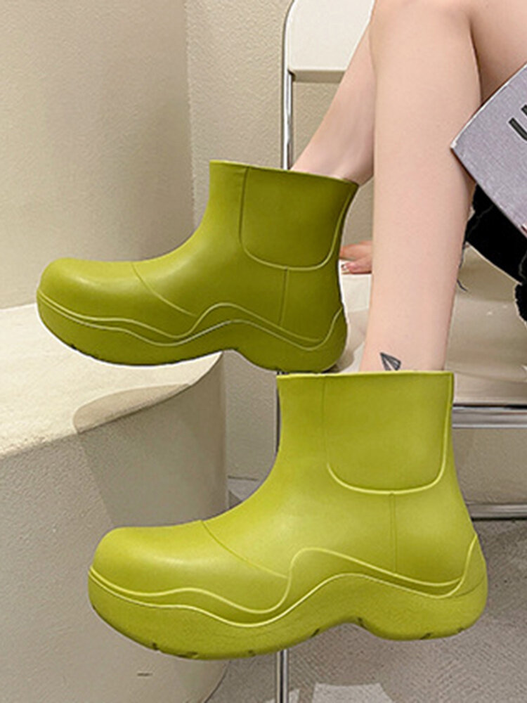 Women Candy-colored Wide Head Non Slip Waterproof Slip-on Shoes Brief Comfy Rain Boots