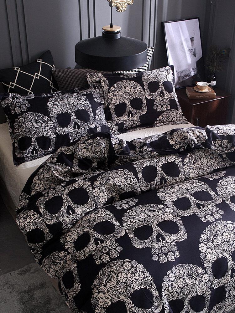 Black White Skull Printed Quilt Cover Pillowcase Halloween Style Bedding Sets