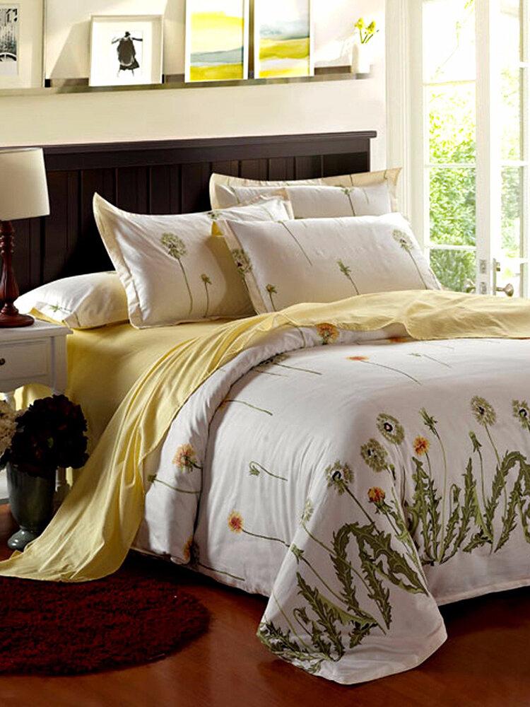 4Pcs Dandelions Duvet Quilt Cover Bedding Set Bedroom Pillow Case Decor Single Twin King