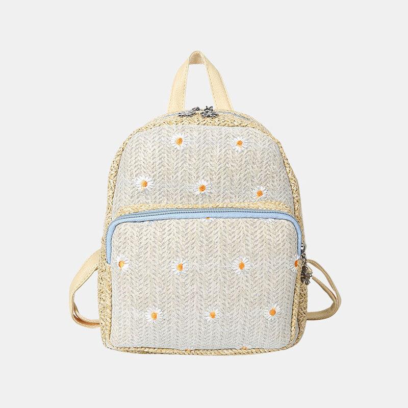 Women Straw Embroidery Daisy Backpack Mini School Bag