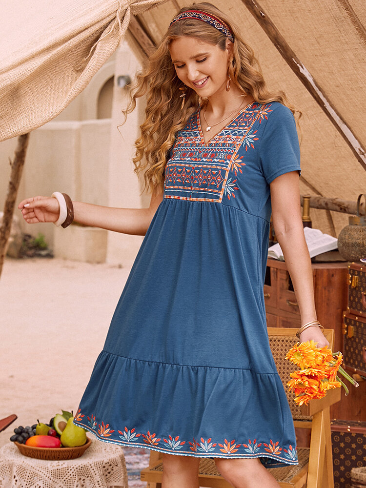 Holiday Print Patchwork V-neck Casual Long Dress