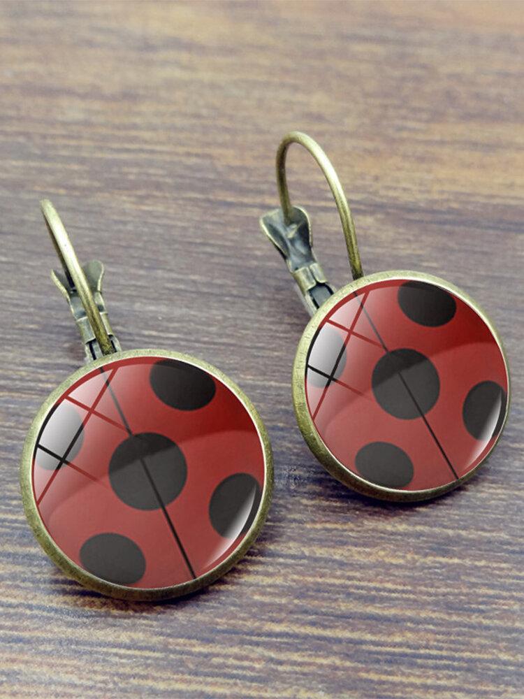 Vintage Seven-stars Ladybug Pattern Drop-shape Alloy Glass Sheet Earrings