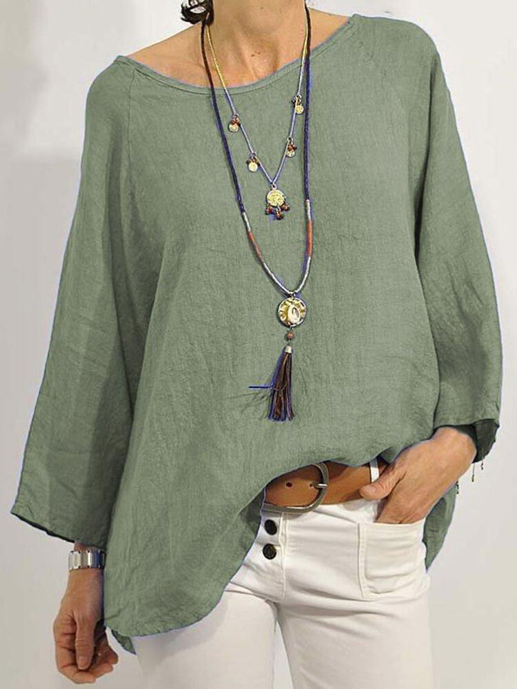 Casual Solid Color O-neck Long Sleeve Loose Blouse
