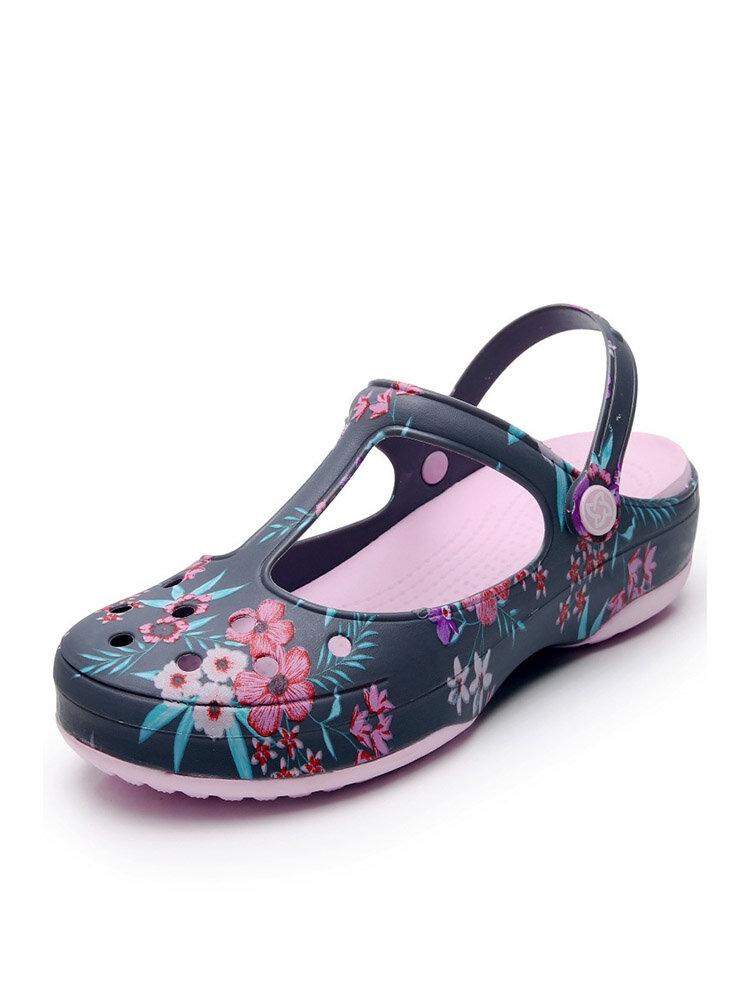 Women Beach Hollow Flowers Pattern Non Slip Closed Toe Jelly Sandals